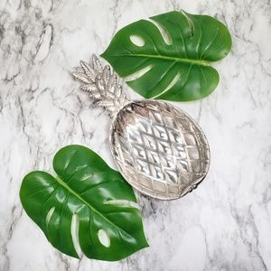 Vintage Silver Plate Pewter Pineapple Tray Dish